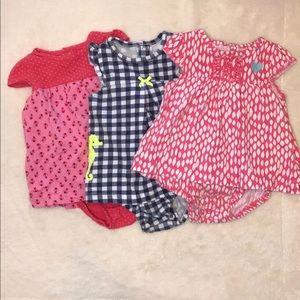 12 Month Carters Summer onesie dress lot